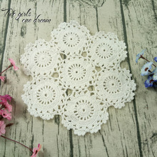 Retro Handmade Crochet Cotton Cup mat Decorative Disc Round Pad Heat Insulation Mat Round Coaster 25cm Shooting Props Doily 12PC