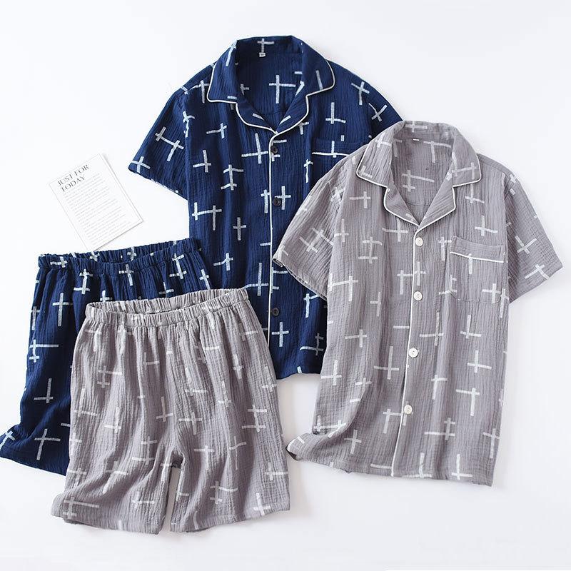 Men's 100% Cotton Short-sleeved Sleepwear Suit Summer Wrinkled Cloth Pajamas Men Loose And Leisure Plus Size Mens Crepe Pyjama