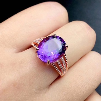 Natural real amethyst ring 925 sterling silver 9*11MM gemstone For men or women rings Fine jewelry