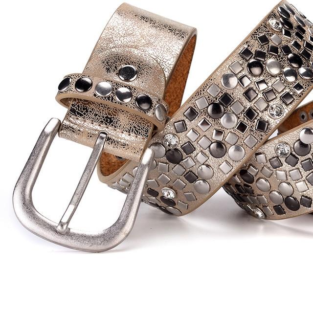 Split leather + pu rivet belt fashion rhinestone women's studded belts high quality female leather rock women strap for jeans