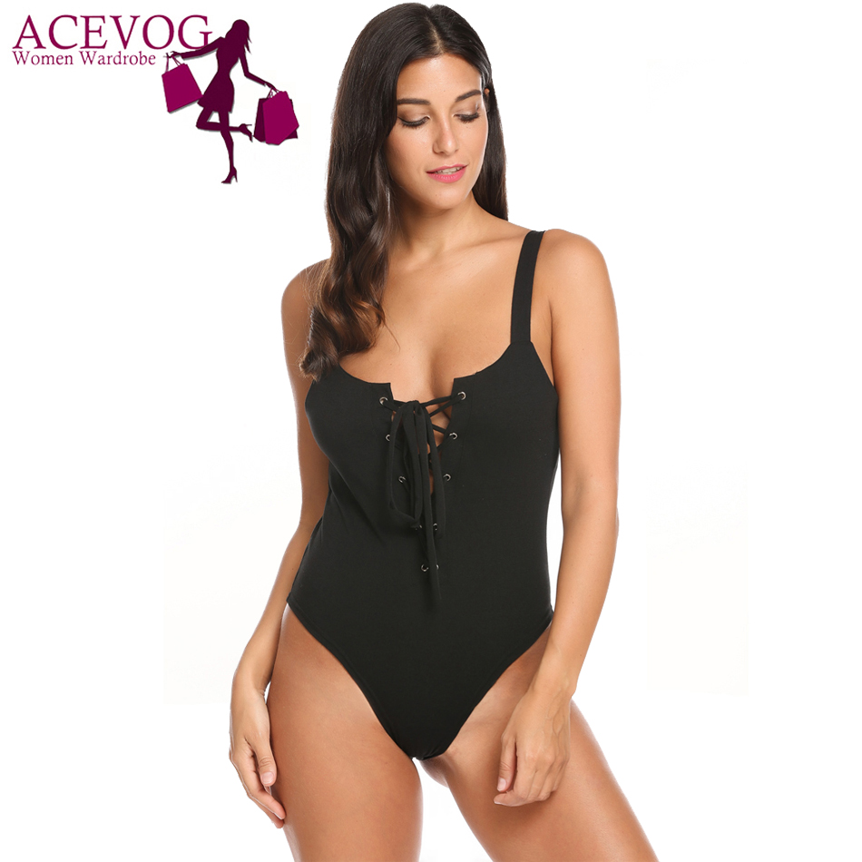 ACEVOG Women Sexy Bodysuit Summer Cami Style Spaghetti Strap Solid Sleeveless Cross Lace Up Slim Rope Feminino Bodysuit Top