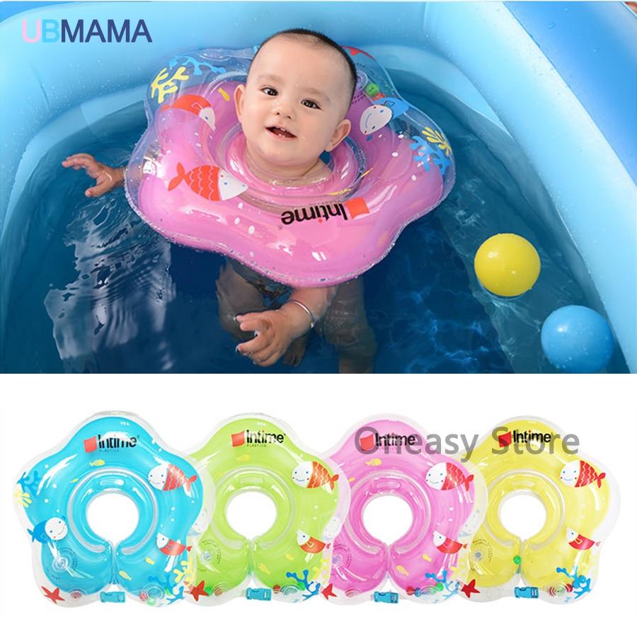 Для Ребенка Плавать Кольцо Регулируемая Двойной Защитой Плавательные Кольца Детские Шеи Поплавок Спасательный круг Надувной Новорожденный Плавательный круг