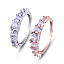 New Arrive Shining Cubic Zircon Ring 2017 Fashion Jewelry Delicate Rose Gold Color Rings for Women Bijoux Femme Anello