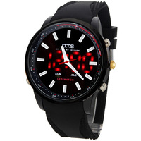 OTS Hodinky Military Rubber Strap Cool Black Mens Silicone Large Face LED Digital Outdoor Man Sports