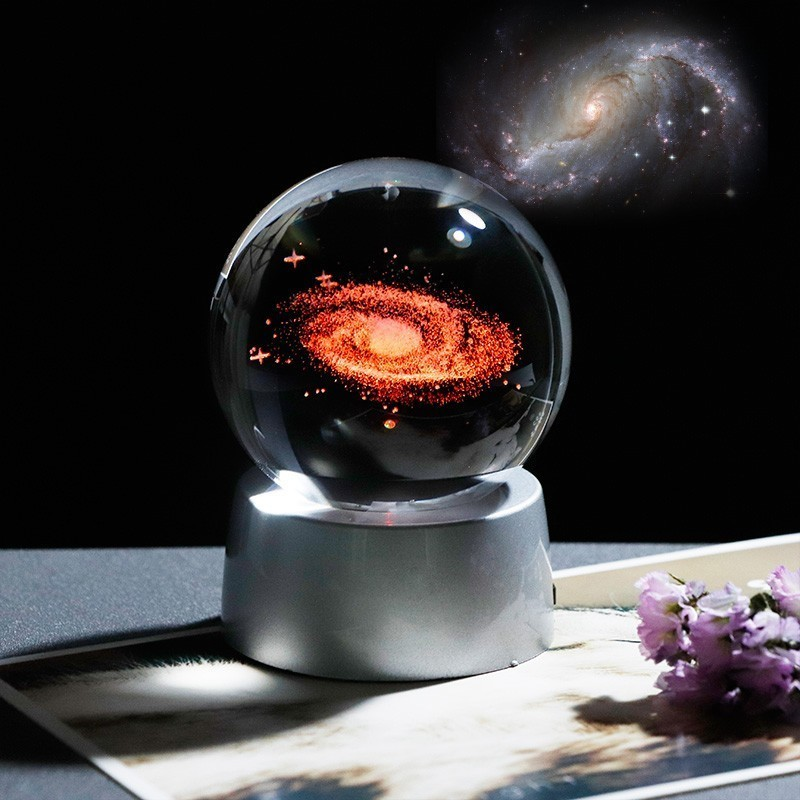 Ball Solar System Model Decoration Accessories Three Dimensional Laser Carving Quartz Glass Ball Birthday Gift To Friends