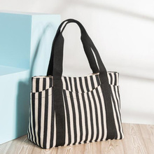 Luxury Brand Women Shoulder Bags Eco Striped Thicken Canvas Handbag Female Big Tote Bag Ladies Shopping Beach Purses Sac