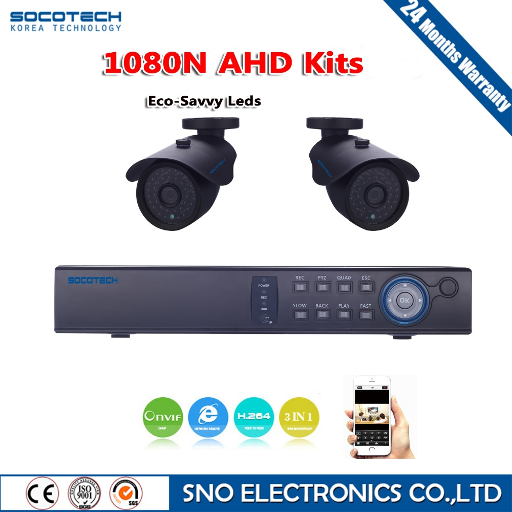 SOCOTECH Surveillance kit 4CH 1080N AHD DVR 2 X Outdoor Full HD Waterproof IR-CUT Bullet Camera Security Kit CCTV System