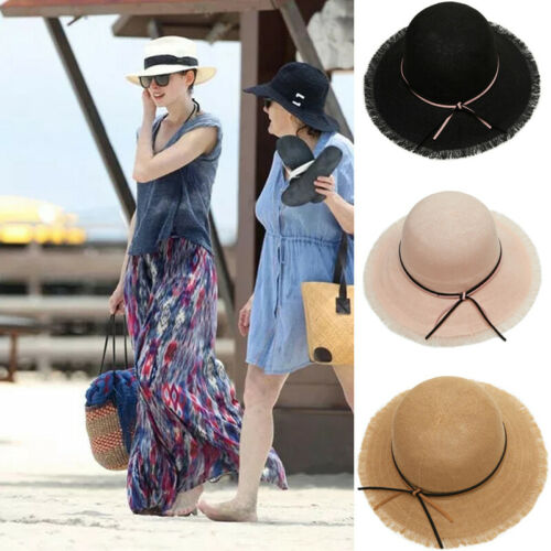 Fashion Women   Skullies     Beanies   Caps Hat Ladies Summer Big Wide Brim Straw Hat Floppy Derby Beach Sun Foldable Cap