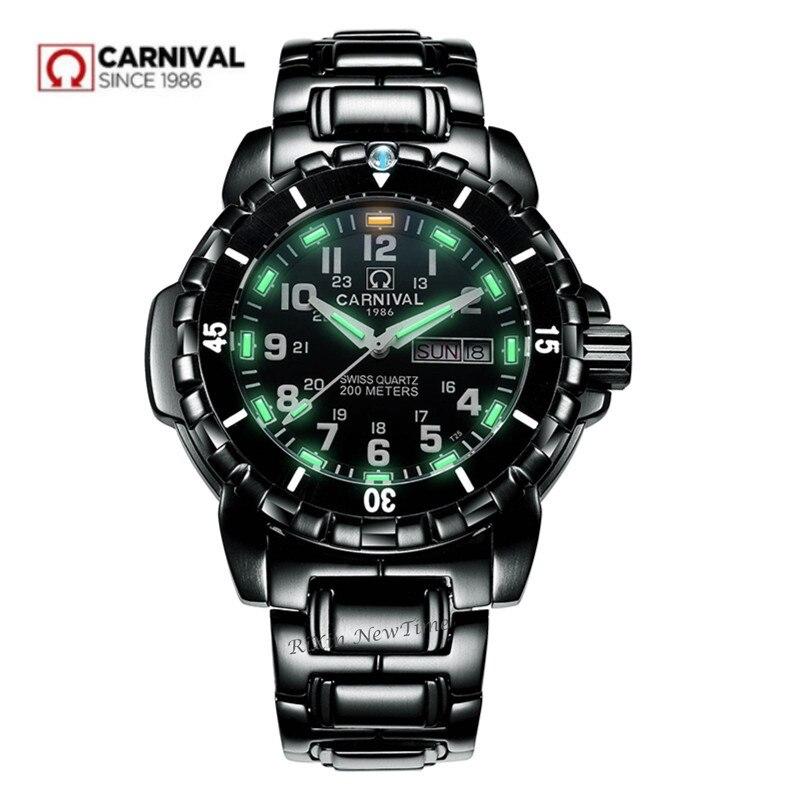Водонепроницаемый 200 м T25 Тритий Светящиеся Часы мужские военные дайвинг спорт кварцевые мужские часы Топ Мягкий Роскошные Швейцарии Ронда