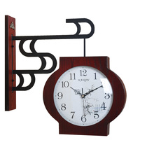 Meijswxj Double-Sided Wall Clock Saat Reloj European Style Clock Relogio de parede Duvar Saati Horloge Murale Metal Mute Clocks