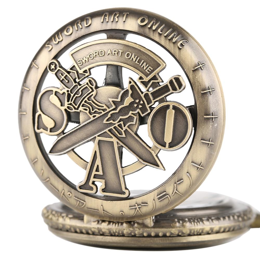 Vintage SAO Sword Art Online Quartz Pocket Watch Necklace Pendant for Kids Men Women Analog Chain Gifts Bronze Fob Clock relogio 2018 (3)