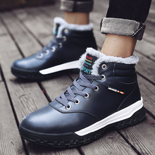 Snow Boots Shoes Men Ankle Boots Black Blue Winter Shoes Outdoor Anti Slip Lace Up Casual Shoes botas masculina UBA224