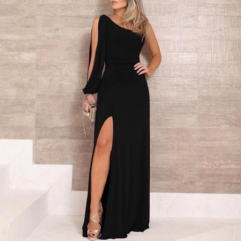 Split Women Party Long <font><b>Dress</b></font> One Shoulder Long Sleeve <font><b>Sexy</b></font> Bodycon <font><b>Dresses</b></font> Lady Slim Elegant <font><b>Black</b></font> Maxi <font><b>Dress</b></font> Vestidos image