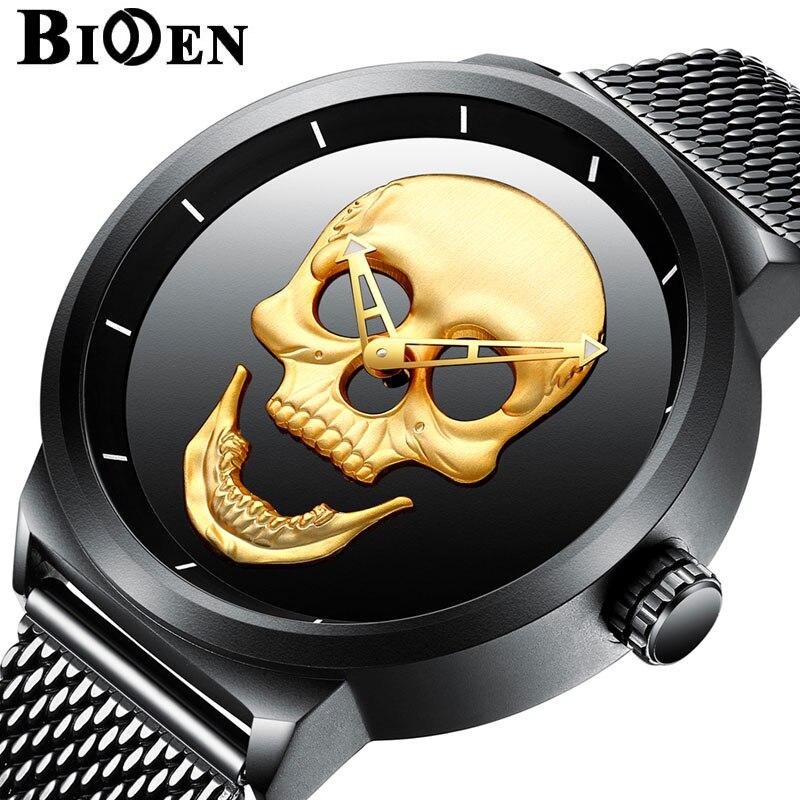Montres hommes de luxe marque Unique cadran crâne hommes noir Sport montre en acier inoxydable maille bande montre-bracelet bayan kol saati