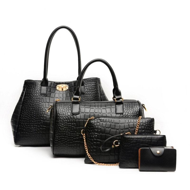 ФОТО 5 Baga/Set Women Handbags bolsa feminina Women's Leather Handbag Stone Crossbody Shoulder Messenger Bags Crocodile Composite Bag