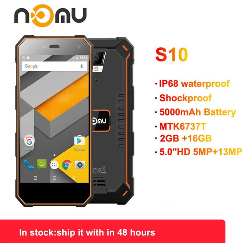 Official Nomu S10 2GB 16GB 4G IP68 Android 6.0 8.0MP Dual SIM Mobile Phone 5.0