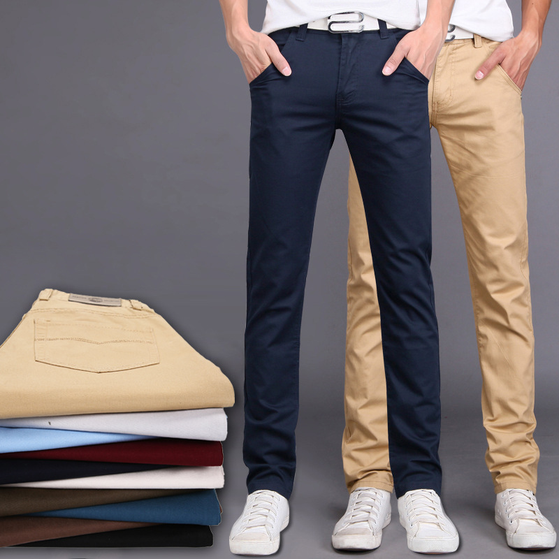 2019 New Spring Summer Casual Wear Pants Men Cotton Slim Fit Chinos Fashion Trousers Male Brand Clothing Plus Size 9 Colour 1