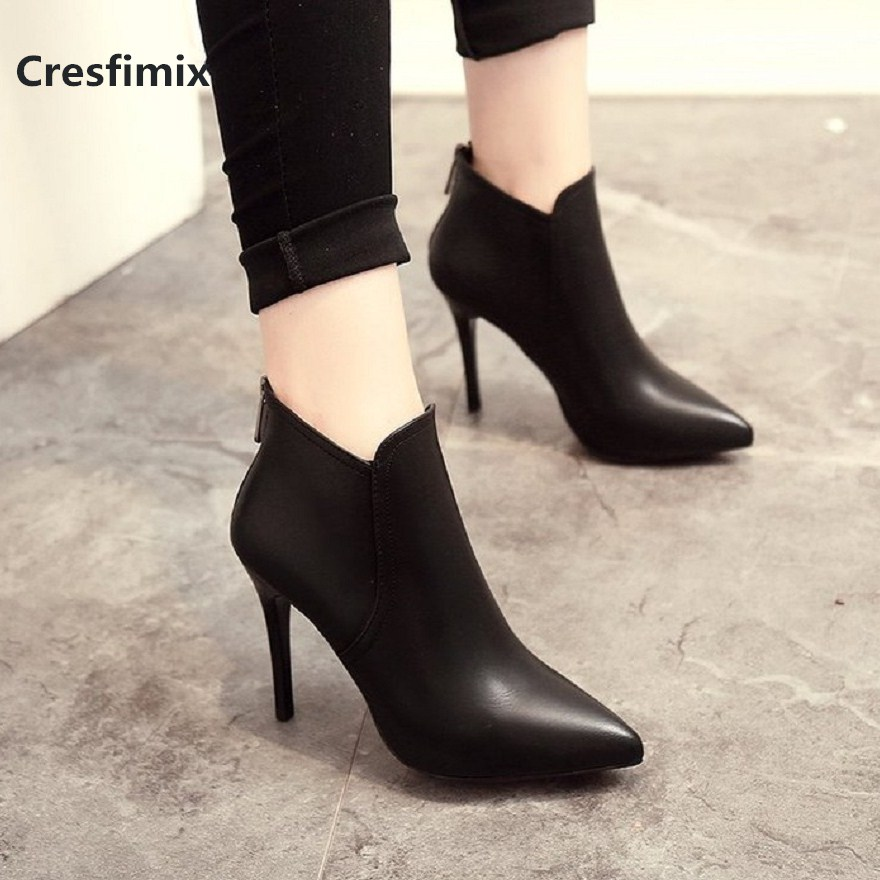 Cresfimix women fashion comfortable black pu leather ankle boots lady cool autumn & winter high heel martin boots botas a2717