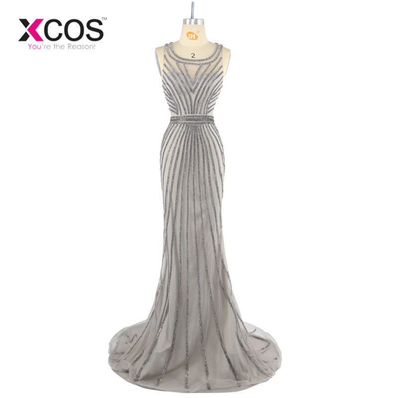 Real Photos Tulle Crystal Grey Color Party Occasion Formal Long Evening Dress African Prom Dresses Evening Gown 2017 SC275