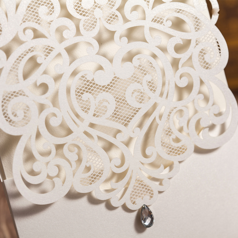 Luxury White Cut out Paper Lace Wedding Invitations Cardswith ...