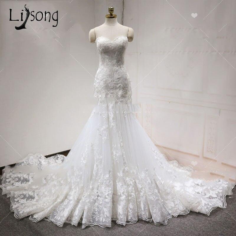 Sexy Mermaid Wedding Dresses 2018  Unique Lace Bridal Gowns Plus Size Lace Up Sweetheart Off Shoulder Vestido De Casamento