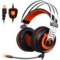 Vibration Headphones Gaming Headsets 7.1 Virtual Surround Sound USB PC Noise Cancelling Microphone LED Light for Laptop Computer