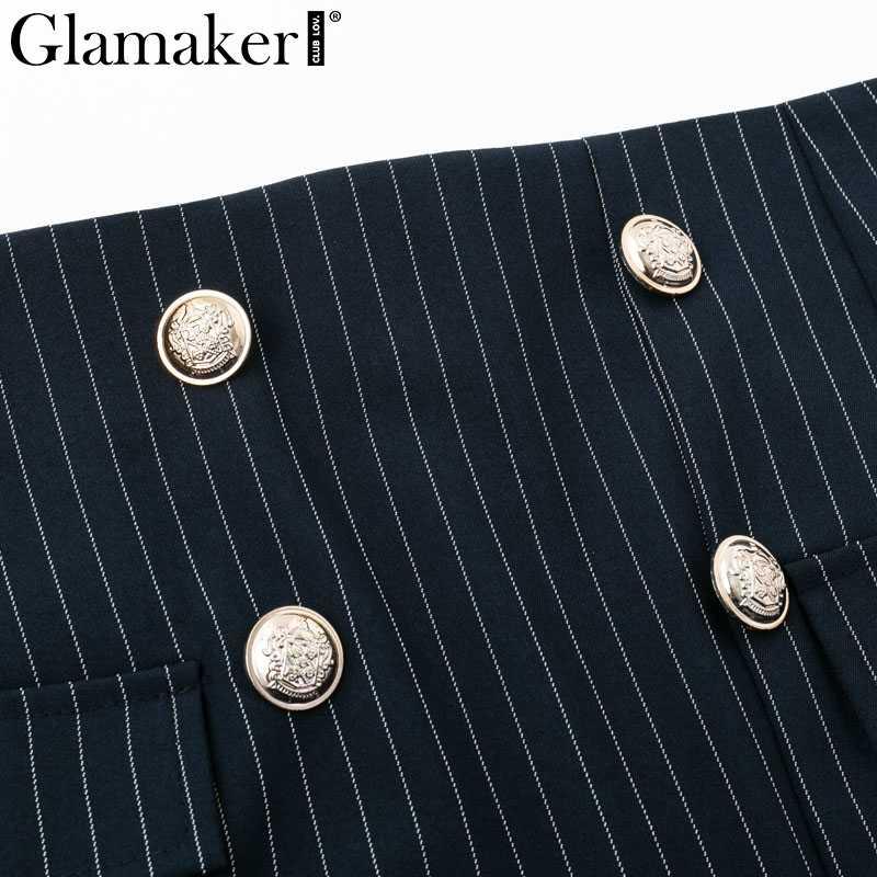 a9d303c885a ... Glamaker темно-синяя Полосатая юбка-карандаш миди Женская Осенняя  Высокая талия костюм сексуальная юбка ...