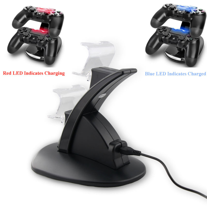 Black <font><b>PS4</b></font> Dual USB Charging Dock Stand With Holder Charger for Playstation 4 Game Wireless Controller Charger for <font><b>PS4</b></font> Controller