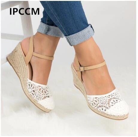 IPCCM Summer Fashion High Heel Waterproof Platform Hollow Sandals Wedge High Quality PU Ladies Hasp Straw sandals Size 34-43 pu buckle hollow platform womens heel sandals