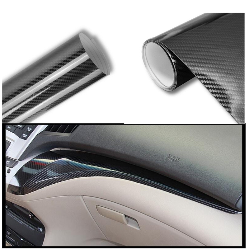 Car Styling 300mmX1000mm 5D Carbon Fiber Vinyl Film Waterproof high glossy warp Film Car Stickers Motorcycle DIY Decals