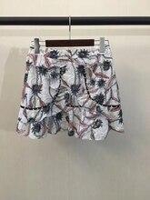 2017 весной и летом женская мода симметричный карманные печати рябить развертки лоскутное печати шорты юбки