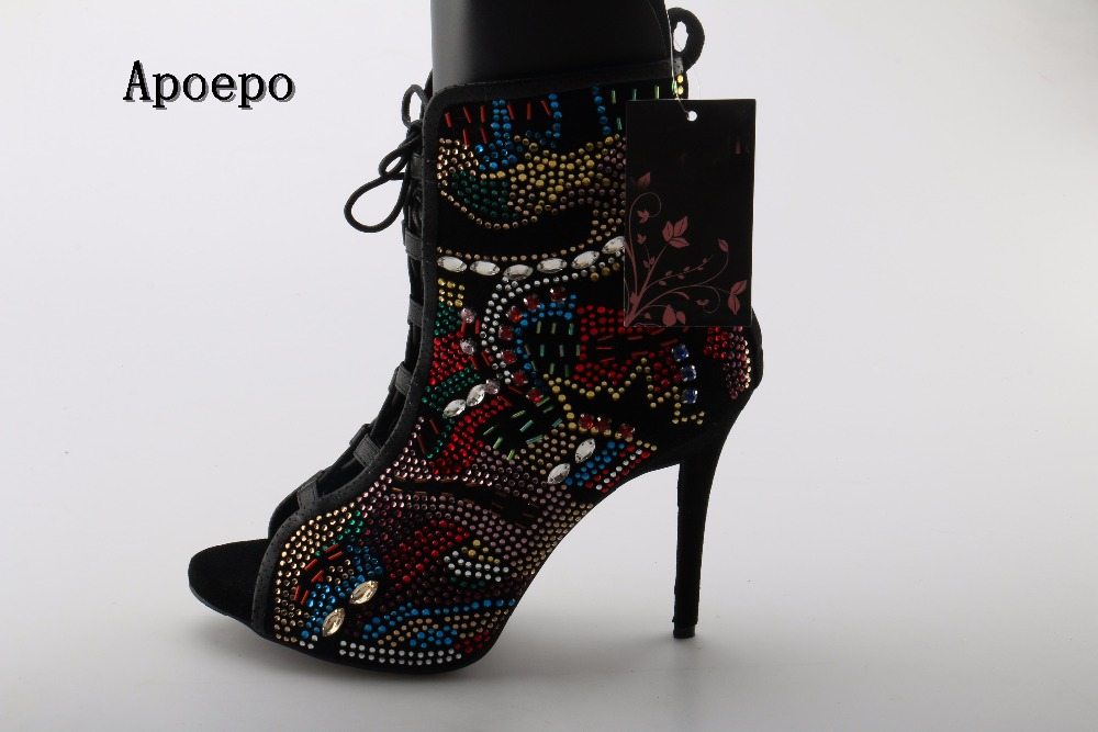 Apoepo Brand Sexy Open toe ankle boots 2018 colorful crystal embellished lace-up gladiator sandal boots woman short boots 2017 embellished sweety girl love pink peach women martin boots short shoe ankle lace up crystal sequins flat round toe shoe
