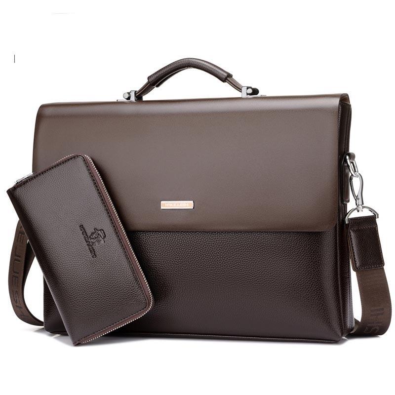 Business Men Briefcase Bag Pu Leather Shoulder Bags Laptop Bag Office High Quality Famous Brand Design Large Capacity Briefcase