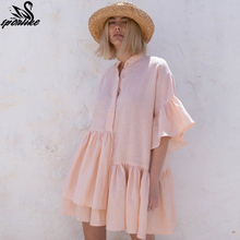 Women Swimsuit Cover Ups Mandarin Sleeve Kaftan Beach Tunic Dress Robe De Plage Solid White Cotton Pareo Beach Cover Up