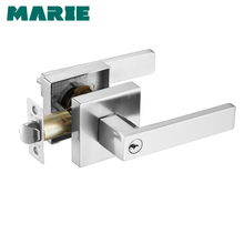 hot deal buy lh3008 stainless steel door handle with lock cylinder front back lever latch polished home security interior accessories