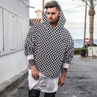 Wycbk High Street Fashion Casual Black White Sweatshirts Justin Bieber Style Checkerboard Lattice Men Brand Pullover