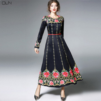 OLN Evening Party Dress Plus Large Size Spring Sexy Woman O Neck Long Sleeve Slim Elegant