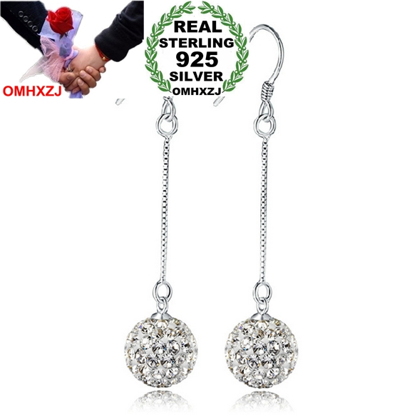 OMHXZJ Wholesale Fashion jewelry Princess long style Tassel Bohemia OL Drop drill ball 925 sterling silver Earrings YS46 in Earrings from Jewelry Accessories