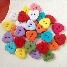100 шт., 2 отверстия, пуговицы в форме сердца, яркие цвета, для шитья, рукоделие, Пришивные пуговицы для скрапбукинга, сделай сам
