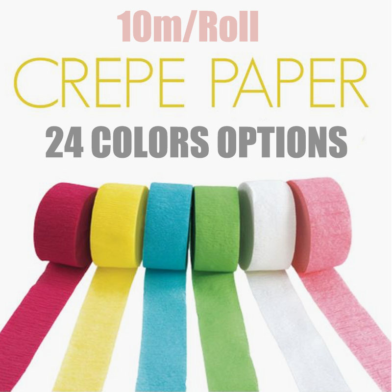 DIY Paper 10M/Roll Crepe Paper <font><b>Streamers</b></font> Bouquet Curling For Home Wedding Birthday Party Baby Shower Ceremony Venue Decoration