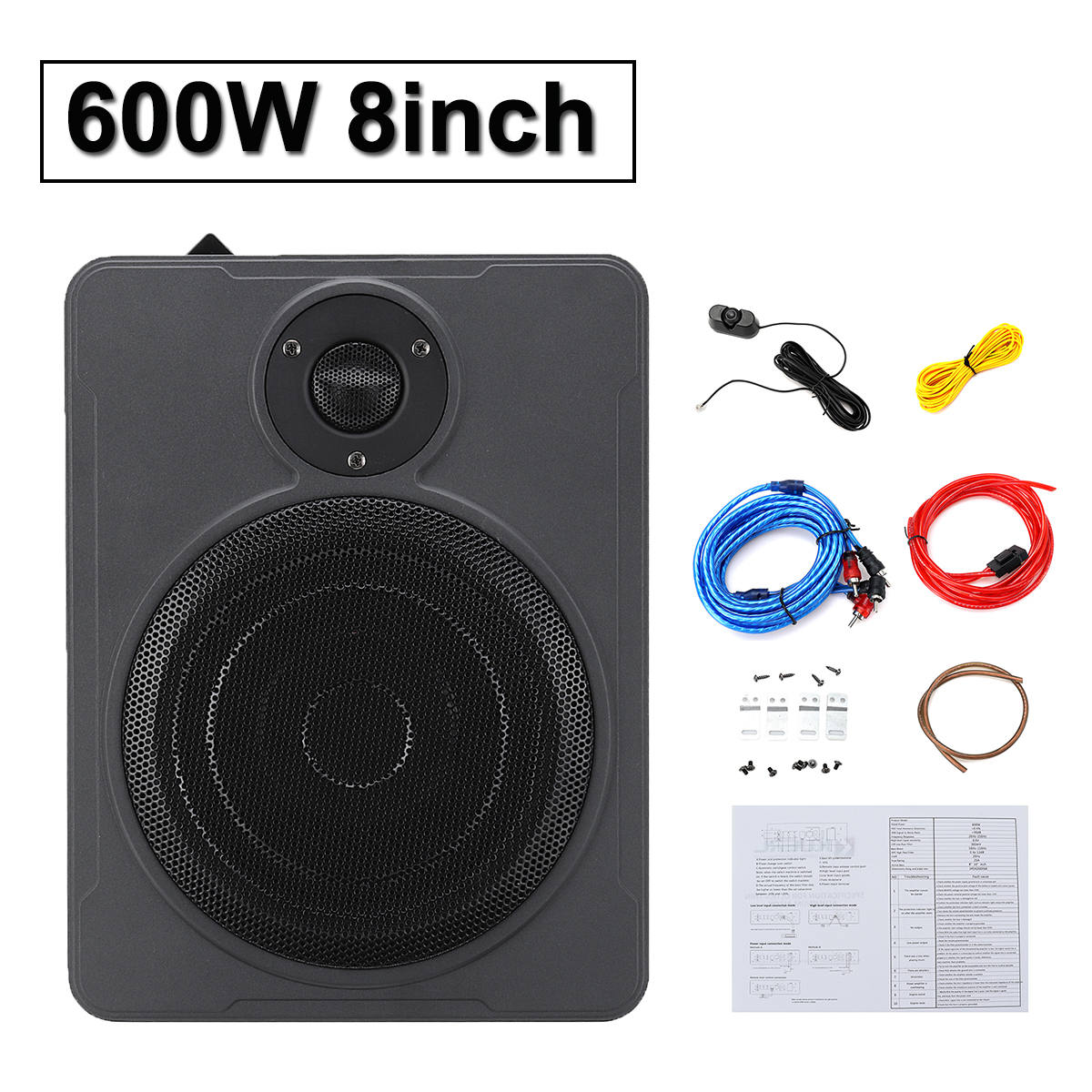 Subwoofer Speaker Music-System Car-Audio Under-Seat Bluetooth 600W 8inch Stereo Home