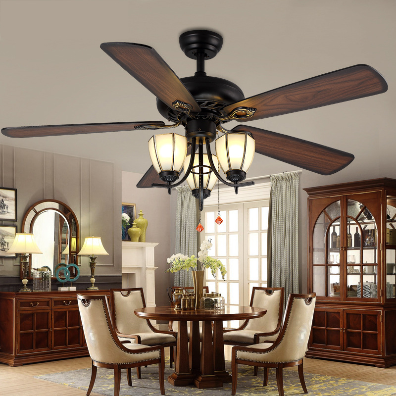 LukLoy Retro Ceiling Fan Pendant Light Restaurant Living Room Dining Room Fan Glass Light Simple Modern LED Wood Leaf Fan Lamp