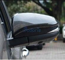 Carbon Fiber Door Mirror Cover Rear View Overlay Trim Chrome Car Styling 2014 2015 2016 2017 2018 For Toyota RAV4 Accessories new 1 1 replacement carbon fiber rear view mirror cover car styling for volkswagen vw tiguan 2009 2015