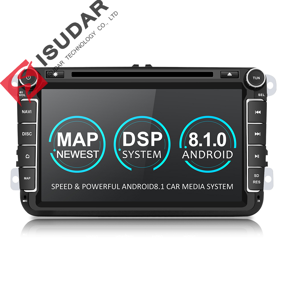 Isudar Dois Din Car Multimedia Player Android 8.1 Auto Rádio Para Skoda/Seat/Volkswagen/VW/Passat b7/POLO/GOLF 5 6 DVD GPS 4 Núcleos
