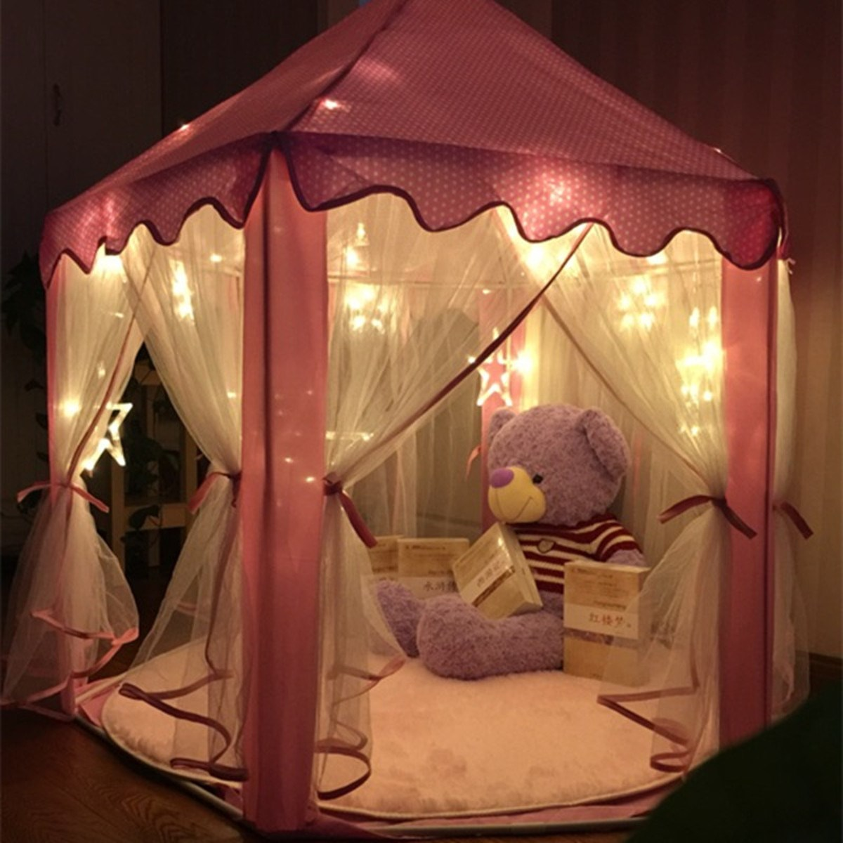 new lovely girls pink princess castle cute playhouse children kids play tent outdoor toys tent. Black Bedroom Furniture Sets. Home Design Ideas
