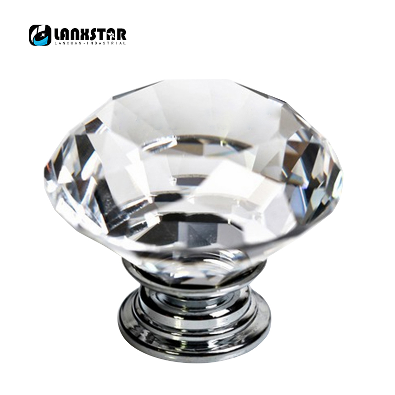 New Fashionable 10pcs/lot 40mm Clear Diamond Shape Crystal Glass Pull Handle Cupboard Cabinet Drawer Door Furniture Knob