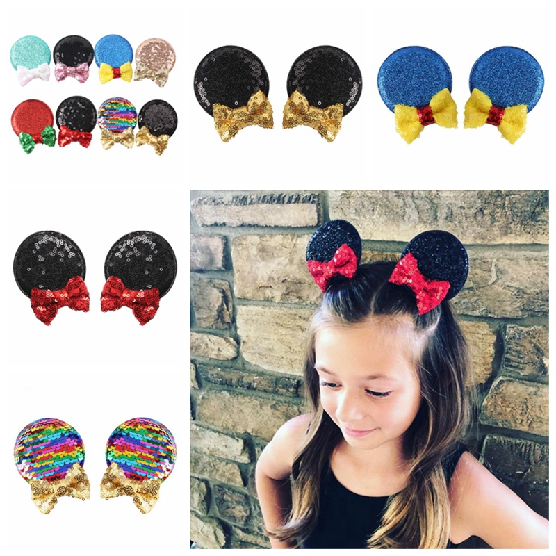 New 2Pcs/Set Baby Mickey Sequin Hair Clips Kids Bowknot Barrette Children Party Duckbill Clip Girls Princess Hairpins Photo Prop