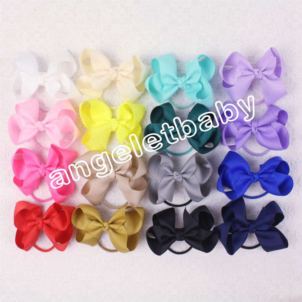 100pcs Girls ABC basic Ribbon Hair Bows clips Ponytail Holder hair ties Hair Accessories hairpin kids