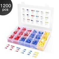 1200Pcs Set Assorted Crimp Terminals Kits Insulated Electrical Wiring Connectors Insulated Cord Pin End Terminal Kit