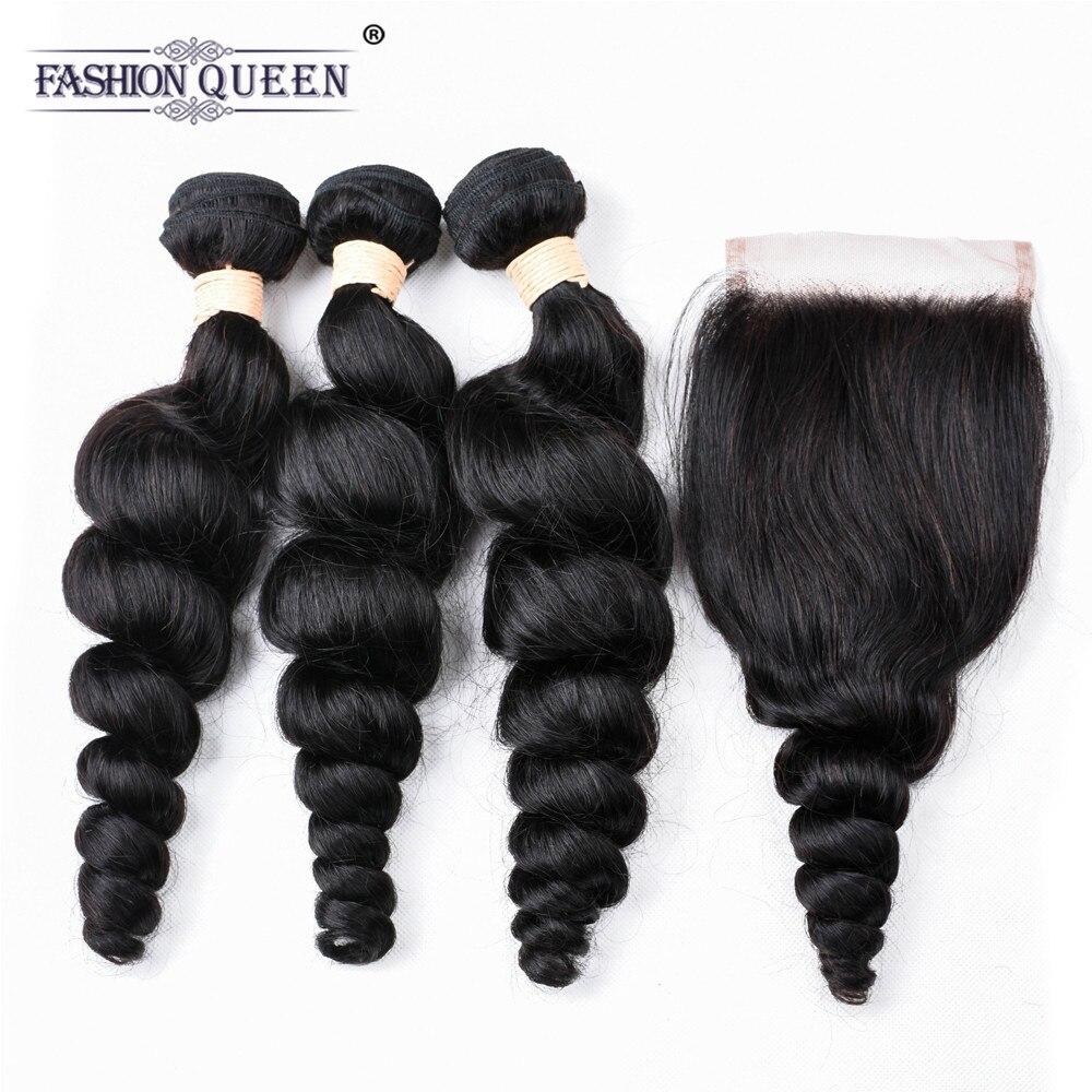 Fashion Queen Brazilian Hair Weave Bundles With Closure 3 Bundles Human Hair Loose Wave Bundles With Closure 4 Pcs/lot Deals